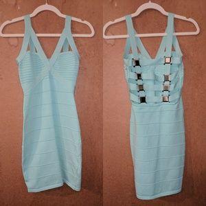 Mint caged bandage dress